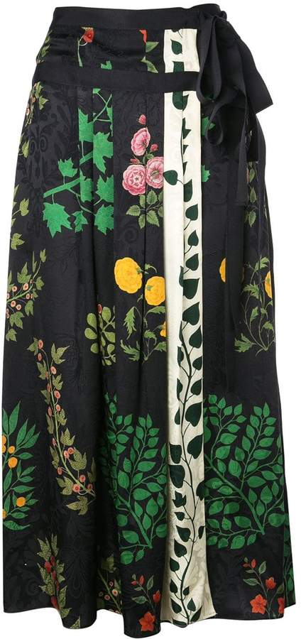 Oscar de la Renta floral print pleated midi skirt