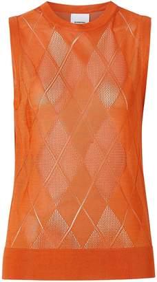 Burberry Monogram Motif Pointelle Knit Vest