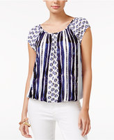 American Rag Printed Cap-Sleeve Blouson Top, Only at Macy's