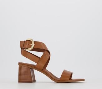 Office Make It Casual Block Heel Sandals Tan Leather