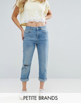 Miss Selfridge Petite Distressed Mom Jeans
