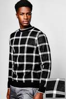 Boohoo Window Pane Check Knitted Jumper