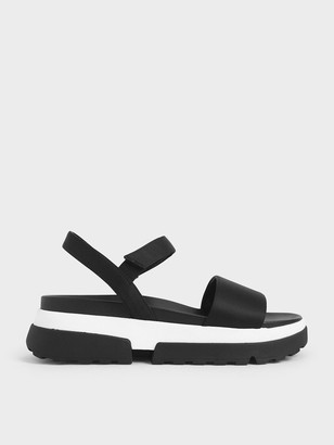 Charles & Keith Satin Chunky Sole Sandals