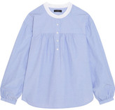 J.Crew Raspberry Gathered Cotton Blouse - Blue