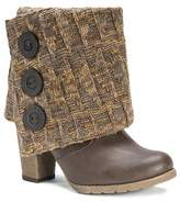 Muk Luks Women's Chris Sweater with Button Ankle Boots - Chocolate