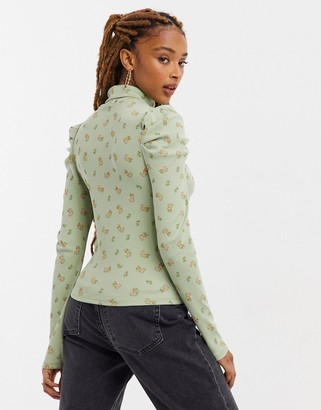 Monki Ronja organic cotton long sleeve high neck top in green