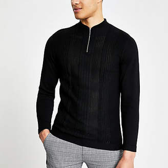 River Island Black muscle fit half zip knitted polo shirt