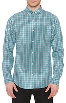 Original Penguin Long Sleeve Mini Plaid Shirt, Bright Aqua