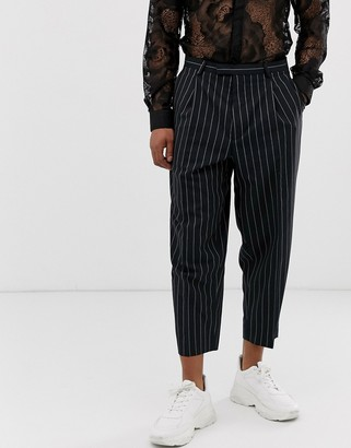 Twisted Tailor wide leg trousers with double pleat with neon stripe in navy-Green