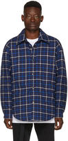 Balenciaga Blue Oversized Flannel Shirt
