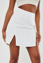 Missguided Petite White Co Ord Double Split Mini Skirt