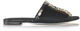 Oscar de la Renta Scarlette Black Tonal Satin w/Crystals Slide Sandals