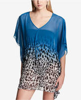 Calvin Klein Ombre Leopard Animal Print Drawstring Caftan Cover-Up Women's Swimsuit