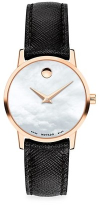 Movado Museum Classic Bold Rose Goldplated & Leather Strap Watch