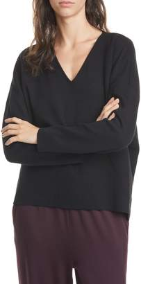 Eileen Fisher V-Neck Boxy Organic Cotton Blend Top