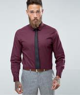 Asos Slim Shirt In Burgundy With Black Tie Save