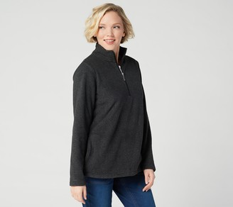 Denim & Co. Textured Fleece Half Zip Long Sleeve Pullover Top