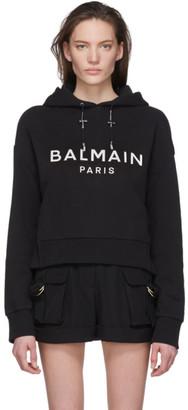 Balmain Black Mirrored Logo Hoodie