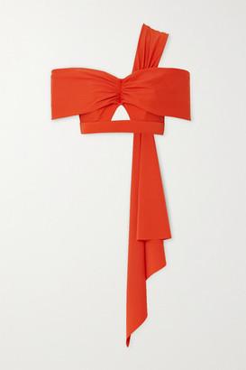 Self-Portrait One-shoulder Draped Cutout Bikini Top - Red