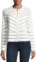 Bagatelle Faux-Leather Striped Jacket, White