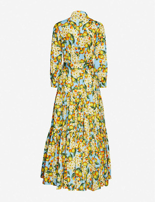 Borgo de Nor Citrus-print puff-sleeved cotton maxi dress