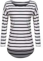 POGTMM Women Long Sleeve Striped T-Shirt Black and Stripes Tees Shirt Tops (XL, )
