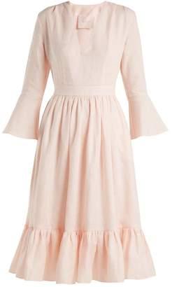 Loup Charmant Sea Island Tie-waist Linen Dress - Womens - Light Pink
