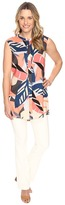 Vince Camuto Sleeveless Modern Tropics Button Up Tunic Women's Blouse