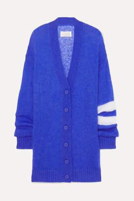 Maison Margiela Striped Open-knit Cardigan - Blue