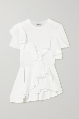 Alexander McQueen Ruffled Cotton-jersey And Poplin T-shirt - White