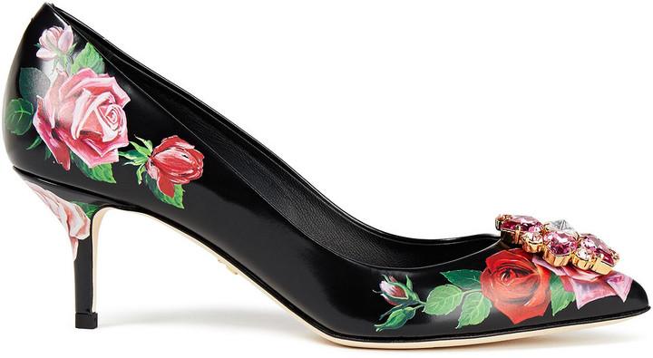 Dolce & Gabbana Bellucci Crystal-embellished Floral-print Leather Pumps