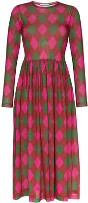 Molly Goddard Alberta argyle-print midi dress