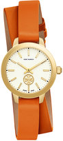 Tory Burch Women's Swiss Collins Orange Leather Wrap Strap Watch 32mm TB1302