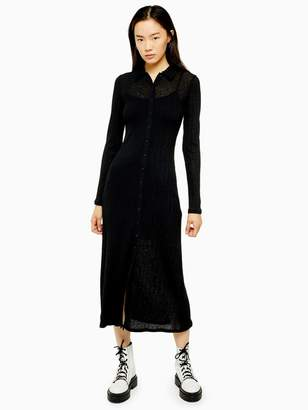 Topshop Rib Midi Cardigan Dress - Black