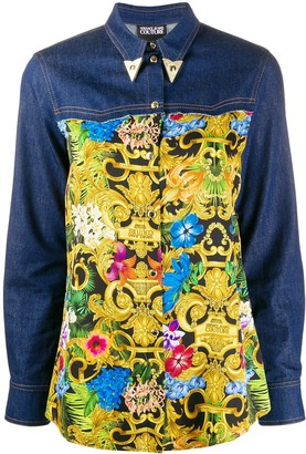 Versace Barocco print denim shirt