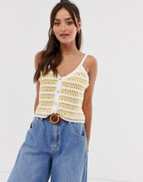 Asos Design DESIGN stripe crochet knitted cami with button detail