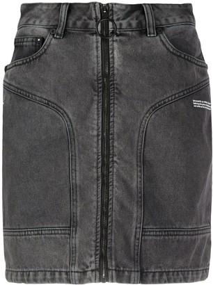Off-White Zip-Front Denim Skirt