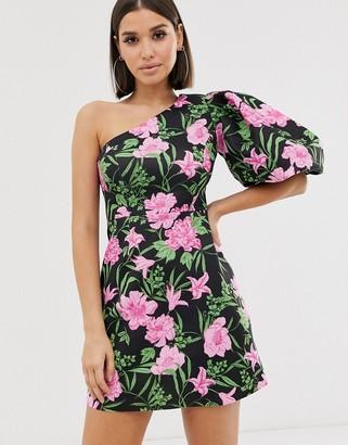Asos Design DESIGN one shoulder puff sleeve floral mini skater dress