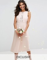 TFNC WEDDING Pleated Midi Dress with Lace Inserts