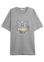 Kenzo Grey Tiger-embroidered Cotton T-shirt