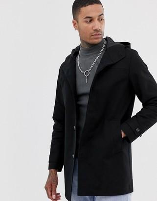 ASOS DESIGN shower resistant hooded trench coat in black