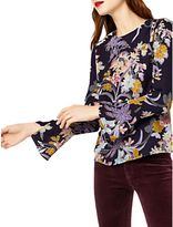 Warehouse Orchid Flared Cuff Top, Navy