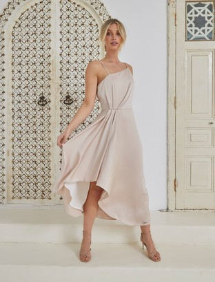 Forever New Danielle Strappy Ruffle Maxi Gown - Champagne - 10