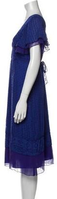 Anna Sui Silk Midi Length Dress Blue