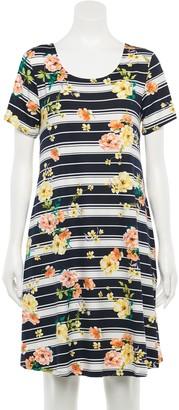 Nina Leonard Women's Floral Trapeze Dress