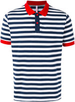 Sun 68 striped contrast collar polo shirt