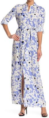 Diane von Furstenberg Amina Floral Print Button Front Maxi Dress