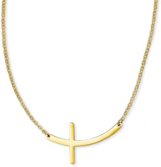 Chisel Stainless Steel Yellow IP-plated Sideways Cross 18-inch Necklace
