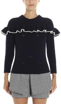 Alexander McQueen Ruffled Crochet Knit Detail Sweatshirt
