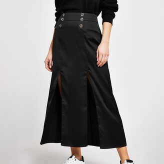 River Island Womens Black double split midi skirt